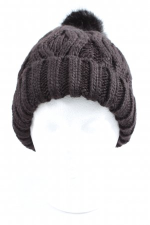 H&M Crochet Cap brown cable stitch casual look