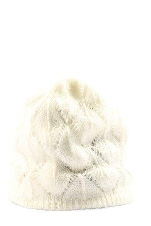 H&M Gorro tejido blanco Patrón de tejido look casual