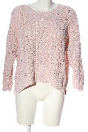 H&M Gehaakte trui roze kabel steek casual uitstraling