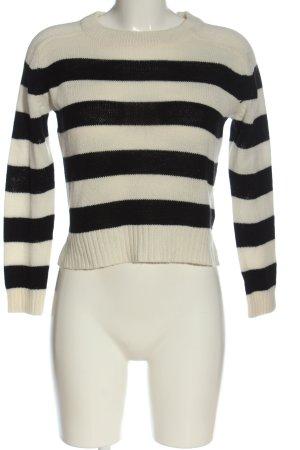 H&M Häkelpullover schwarz-wollweiß Streifenmuster Casual-Look
