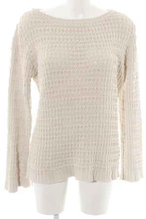H&M Jersey de ganchillo blanco puro punto trenzado estilo sencillo