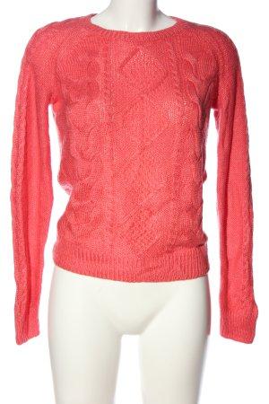 H&M Szydełkowany sweter różowy Warkoczowy wzór W stylu casual