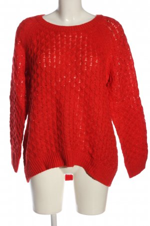 H&M Crochet Sweater red casual look