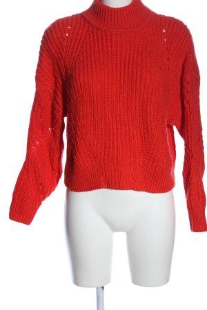 H&M Pull en crochet rouge torsades style décontracté