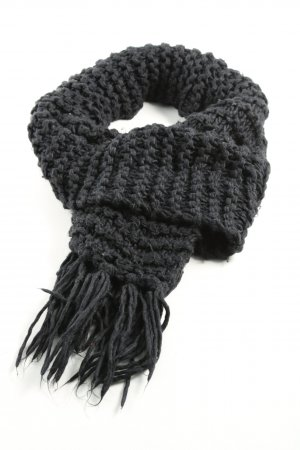 H&M Crochet Scarf black cable stitch business style
