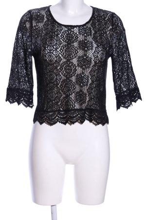 H&M Crochet Shirt black flower pattern elegant