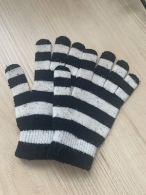 H&M Knitted Gloves black-white