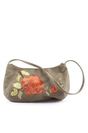 H&M Handtasche hellgrau-hellorange Blumenmuster Casual-Look