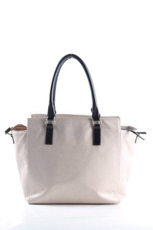 H&M Handtasche wollweiß-schwarz Business-Look