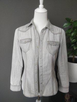 H&M Denim Shirt light grey-grey