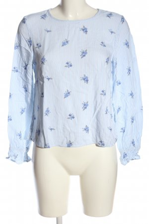 H&M Hemd-Bluse blau-weiß Blumenmuster Casual-Look