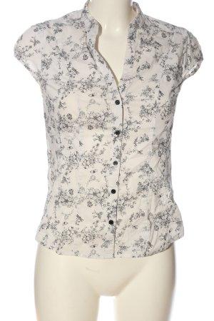 H&M Hemd-Bluse weiß-schwarz Blumenmuster Casual-Look