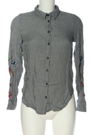 H&M Hemd-Bluse schwarz-weiß Allover-Druck Business-Look