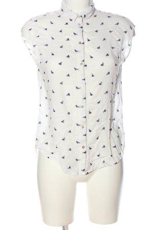 H&M Hemd-Bluse wollweiß-blau Allover-Druck Casual-Look