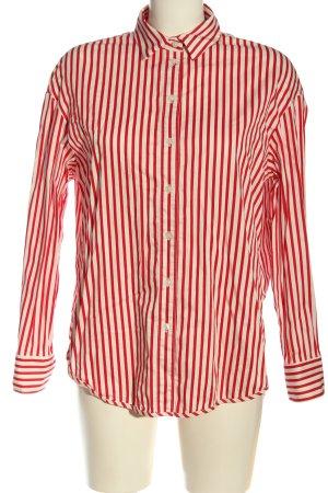 H&M Koszulowa bluzka czerwony-w kolorze białej wełny Wzór w paski