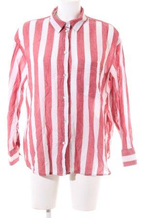 H&M Hemd-Bluse weiß-rot Streifenmuster Casual-Look
