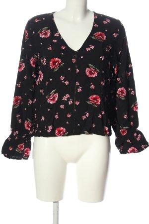 H&M Blusa-camisa negro-rosa estampado repetido sobre toda la superficie
