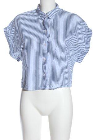 H&M Hemd-Bluse weiß-blau Allover-Druck Elegant