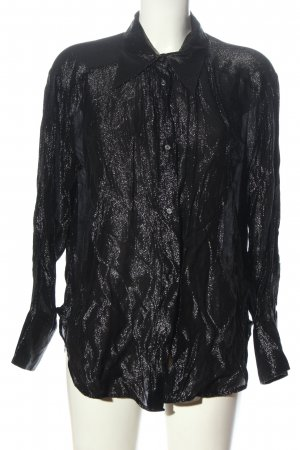 H&M Hemd-Bluse schwarz-silberfarben Elegant