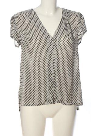 H&M Hemd-Bluse wollweiß-schwarz Allover-Druck Casual-Look