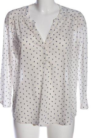 H&M Hemd-Bluse weiß-schwarz Allover-Druck Business-Look