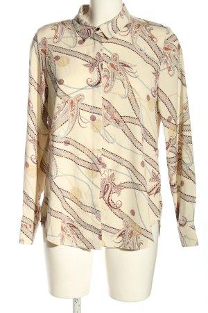 H&M Hemd-Bluse creme abstraktes Muster Business-Look
