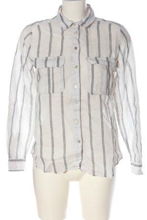 H&M Hemd-Bluse weiß-hellgrau Allover-Druck Business-Look