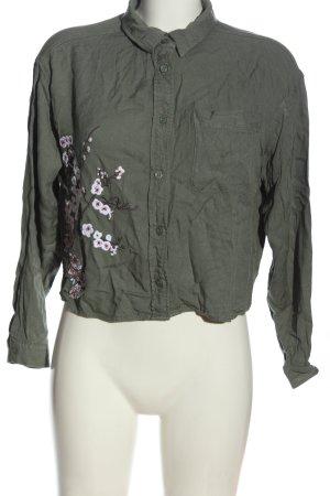H&M Hemd-Bluse khaki-weiß Casual-Look