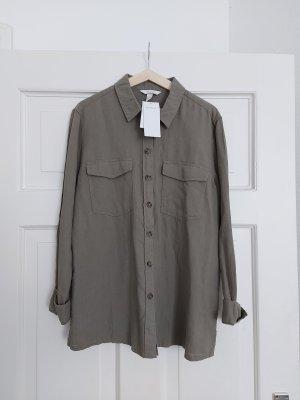 H&M Hemd Bluse 40 Leinenmischung Khaki NEU!