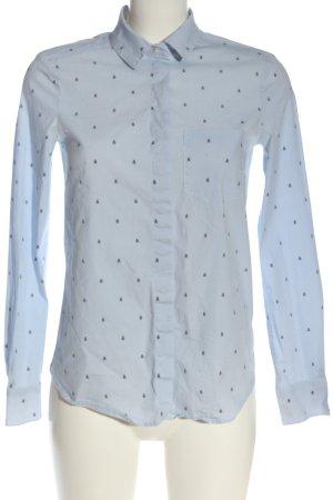 H&M Hemd-Bluse weiß-blau Allover-Druck Casual-Look
