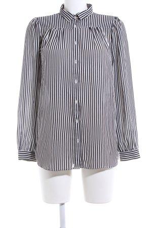H&M Blusa-camisa negro-blanco estampado a rayas estilo «business»