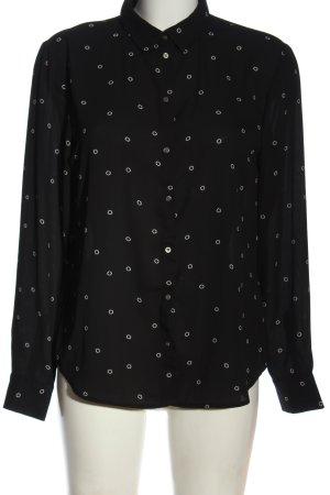 H&M Blusa-camisa negro-blanco estampado repetido sobre toda la superficie
