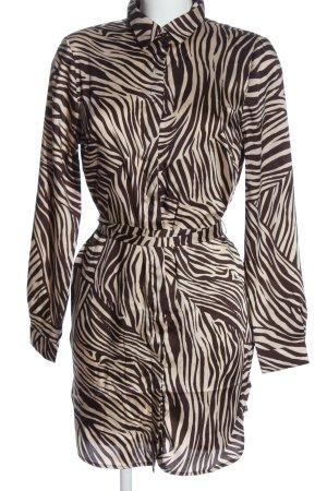 H&M Hemd-Bluse braun-creme Allover-Druck Elegant