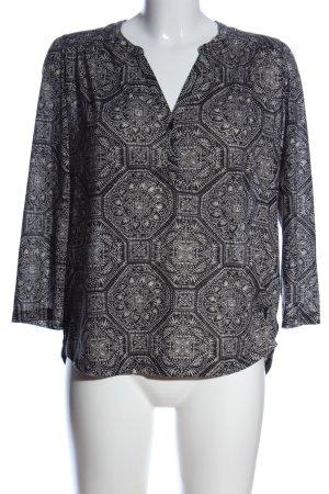 H&M Hemd-Bluse schwarz-weiß grafisches Muster Elegant