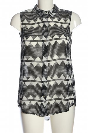 H&M Hemd-Bluse schwarz-wollweiß Allover-Druck Business-Look