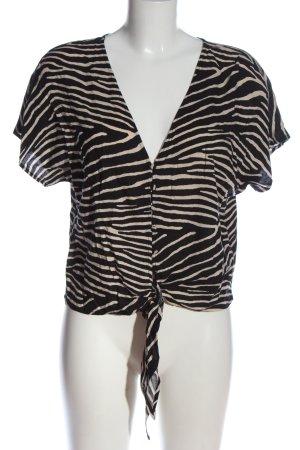 H&M Hemd-Bluse schwarz-creme Allover-Druck Casual-Look