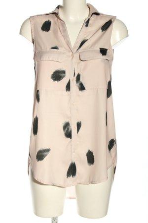 H&M Hemd-Bluse nude-schwarz abstraktes Muster Business-Look