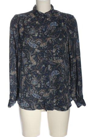 H&M Hemd-Bluse blau-creme Allover-Druck Casual-Look