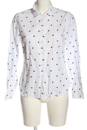 H&M Hemd-Bluse weiß-schwarz Punktemuster Casual-Look