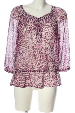 H&M Hemd-Bluse pink-weiß Allover-Druck Elegant