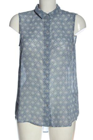 H&M Hemd-Bluse blau-weiß Allover-Druck Casual-Look