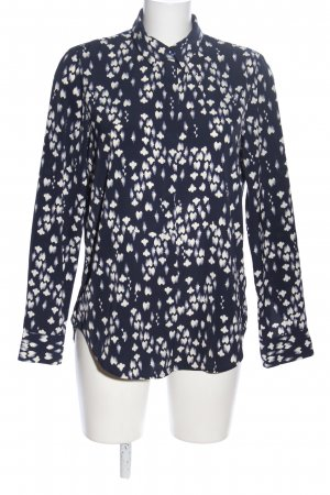H&M Hemd-Bluse weiß-schwarz Allover-Druck Casual-Look