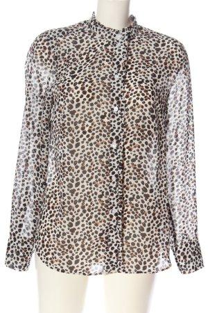 H&M Hemd-Bluse creme-braun Allover-Druck Casual-Look
