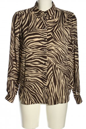 H&M Hemd-Bluse schwarz-pink Allover-Druck Casual-Look