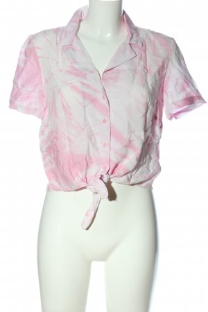 H&M Hemd-Bluse weiß-pink abstraktes Muster Casual-Look