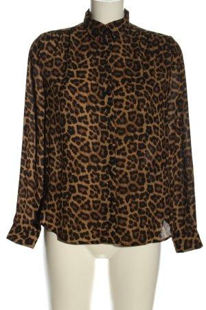 H&M Hemd-Bluse braun-schwarz Leomuster Casual-Look