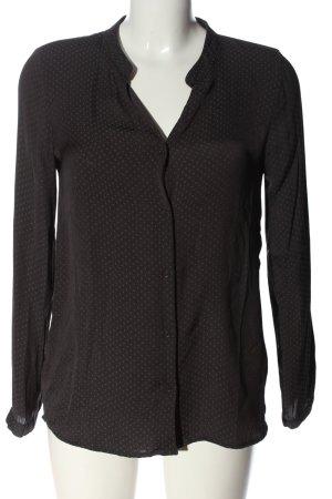 H&M Hemd-Bluse schwarz-hellgrau Allover-Druck Business-Look