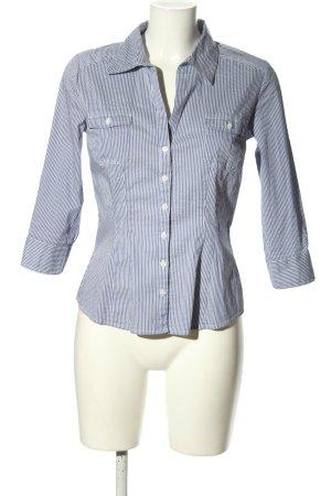 H&M Hemd-Bluse weiß-blau Allover-Druck Business-Look