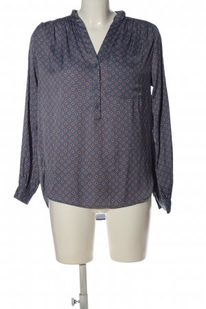 H&M Hemd-Bluse blau-braun Allover-Druck Casual-Look