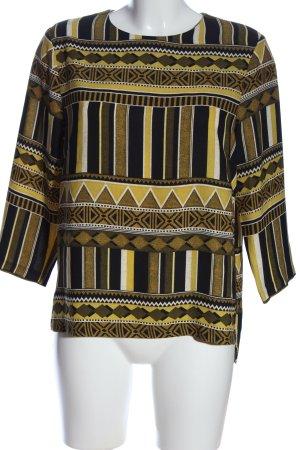 H&M Hemd-Bluse braun-blassgelb grafisches Muster Casual-Look